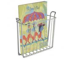 iDesign Revistero metálico, pequeña cesta de metal para guardar periódicos, libros o tablets, revistero de pared ideal para colocar en el baño, plateado