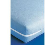 Venca Funda de colchón extensible de rizo 100% algodón con cremallera azul 90