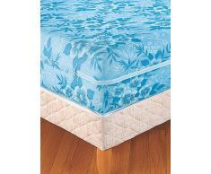 Venca Funda de colchón estampada de flores extensible con cremallera azul 135