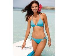Venca Bikini tipo cortina y braga triángulo liso anudado a la nuca turquesa 36