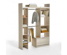 LES PETITS PRIX Armario ropero modular con 2 columnas y 2 colgadores Yann marrón