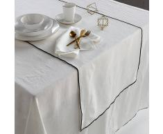 AM.PM. Camino de mesa de lino lavado Taraka blanco