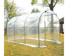 HOMCOM Plastico Invernadero Caseta 350x200x200cm Acero Cultivo Plantas