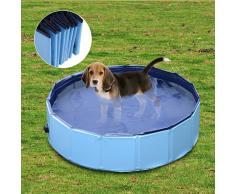 PawHut Piscina Rígida tipo Bañera Plegable para Perros Gatos Mascotas Animales - Color Azul Cielo y Azul Oscuro - PVC PET Tablones - Φ80x 20 cm