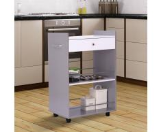 HOMCOM Carrito de Cocina Auxiliar– Color gris – MDF, Metal, Nylon – 60 x 40 x 91cm
