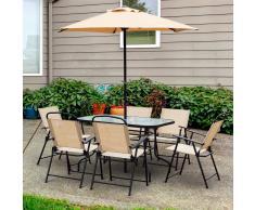 Outsunny Conjunto de Muebles para Jardín Terraza o Patio de 8 piezas para Comedor con Mesa + 6 Sillas Plegables + 1 Sombrilla Parasol de Acero Textilene y Poliéster