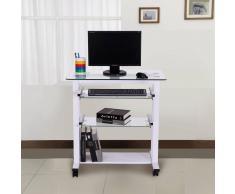 HOMCOM Mesa de Ordenador PC Oficina Despacho Escritorio con Estantes de Vidrio - blanco - 80x51x83 cm