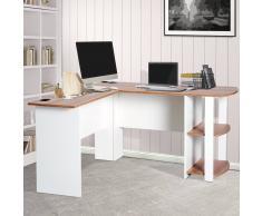 HOMCOM Mesa de Ordenador PC Escritorio para Oficina Hogar Tipo Esquinera Forma L con Estantes Madera - 136.2x130.4x72cm