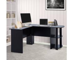 HOMCOM Mesa de Ordenador PC Escritorio para Oficina Hogar Tipo Esquinera Forma L con Estantes Negro - 136.2x130.4x72cm