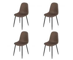 QAZQA Conjunto de 4 sillas tela con patas de acero marrón oscuro - CILLA
