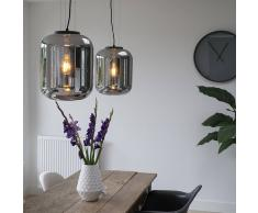 QAZQA Set de 2 lámparas colgantes BLISS negras con cristal ahumado negro