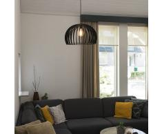 QAZQA Lámpara colgante art déco redonda madera negra 50cm - TWAIN