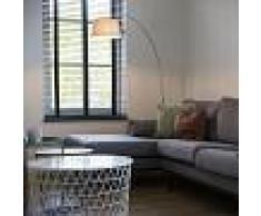 QAZQA Lámpara de arco moderna de acero con pantalla de tela blanca - Arc Basic
