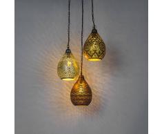 QAZQA Set de 3 vintage lámpara colgantes oro, cobre y acero - DYMAS