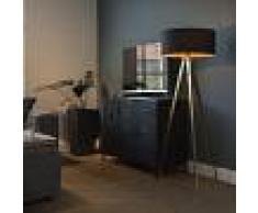 QAZQA Lámpara de pie TRIPE latón con pantalla negra