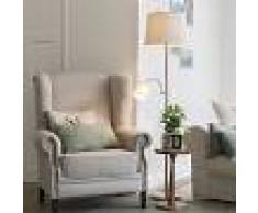 QAZQA Lámpara de pie clásica acero con pantalla blanca y brazo lectura- RETRO
