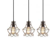 QAZQA Set de 3 lámparas colgantes LICOR Luxe 2 cobre
