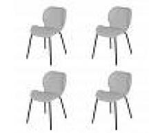 QAZQA Set de 4 sillas de tela con patas de acero gris claro - POSA