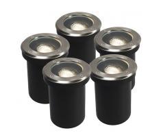 QAZQA Set de 5 focos empotrado de suelo ajustable DELUX redondo