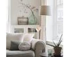 QAZQA Lámpara de pie clásica acero con pantalla gris y brazo lectura- RETRO