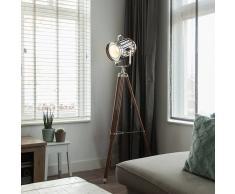QAZQA Lámpara de pie TRIPOD Torch madera y cromo