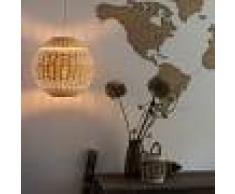 QAZQA Lámpara colgante art déco redonda mimbre - RATTAN