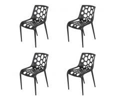 QAZQA Conjunto de 4 sillas de jardín plástico negro - STICO