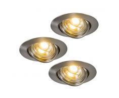 QAZQA 3 Focos empotrables LED EDO orientables acero