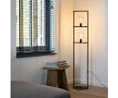 QAZQA Lámpara de pie moderna 2-luces 150cm E27 negro - SIMPLE CAGE
