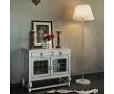 QAZQA Lámpara de pie KASO latón con pantalla PLISSE 45 cm blanca