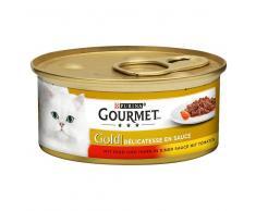 Gourmet Gold Guiso a la cazuela 24 x 85 g - Pack Ahorro - Buey y pollo en salsa de tomate