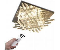 vidaXL Lámpara de techo, LED RGB rectangular interior con tiras cristal