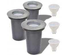 vidaXL Focos LED empotrables de suelo para exteriores redondos 3 unidades