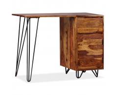 vidaXL Escritorio con 1 cajón y armario de madera maciza sheesham