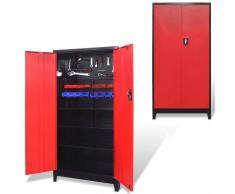 vidaXL Armario de herramientas 2 puertas acero 90x40x180 cm negro/rojo