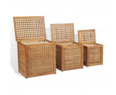 vidaXL Juego de cestos para la ropa 3 unidades madera teca