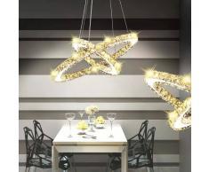 vidaXL Lámpara de Techo Cristal Doble Círculo con LED 23,6 W