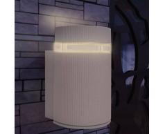 vidaXL Aplique de pared exterior semicilíndrico gris aluminio