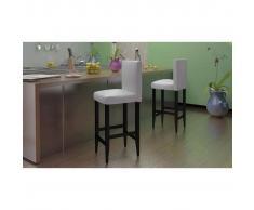 vidaXL Taburete de cocina bar, cuero artificial blanco, 2 unidades