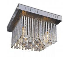 vidaXL Lámpara de techo colgante rectangular cristal y tiras aluminio