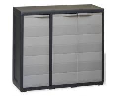 vidaXL Armario de jardín con 2 estantes negro y gris