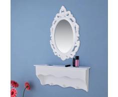 vidaXL Estante de pared para llaves y joyas con espejo ganchos