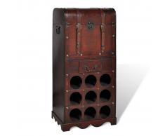 vidaXL Botellero cofre de madera para 9 botellas con cajón