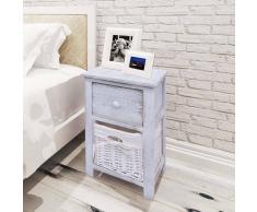 vidaXL Mesita de noche raída y elegante madera blanco