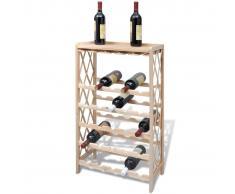 vidaXL Botellero de madera con bandeja, 25 botellas