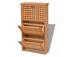vidaXL Mueble zapatero de madera maciza nogal 55 x 20 104 cm