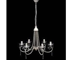 vidaXL Lámpara araña de techo blanca con cristales y cinco elegantes focos