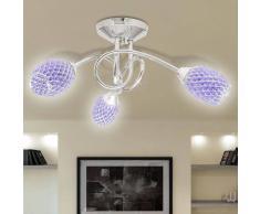 vidaXL Lámpara de techo con tres focos ovales cristal acrílico morado, G9