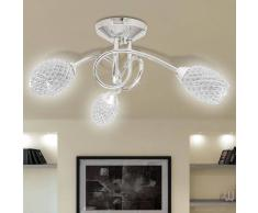 vidaXL Lámpara de techo con tres focos ovales cristal acrílico blanco, G9