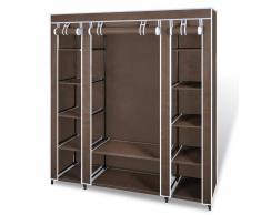 vidaXL Armario de tela compartimentos y varillas 45x150x176cm marrón